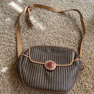 Fendi Striped Brown/Tan Shoulder Bag